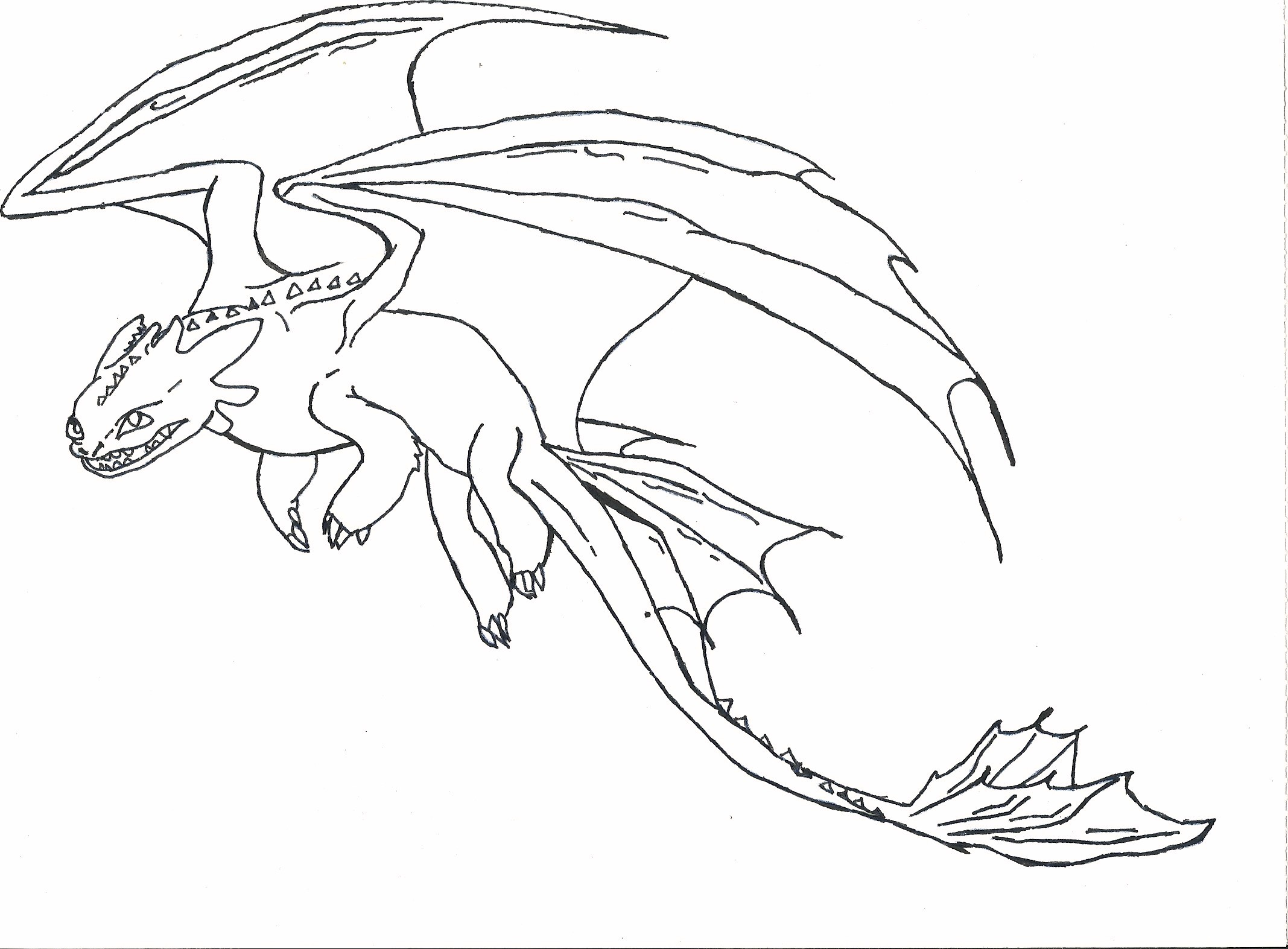 toothless coloring page - easy toothless coloring pages