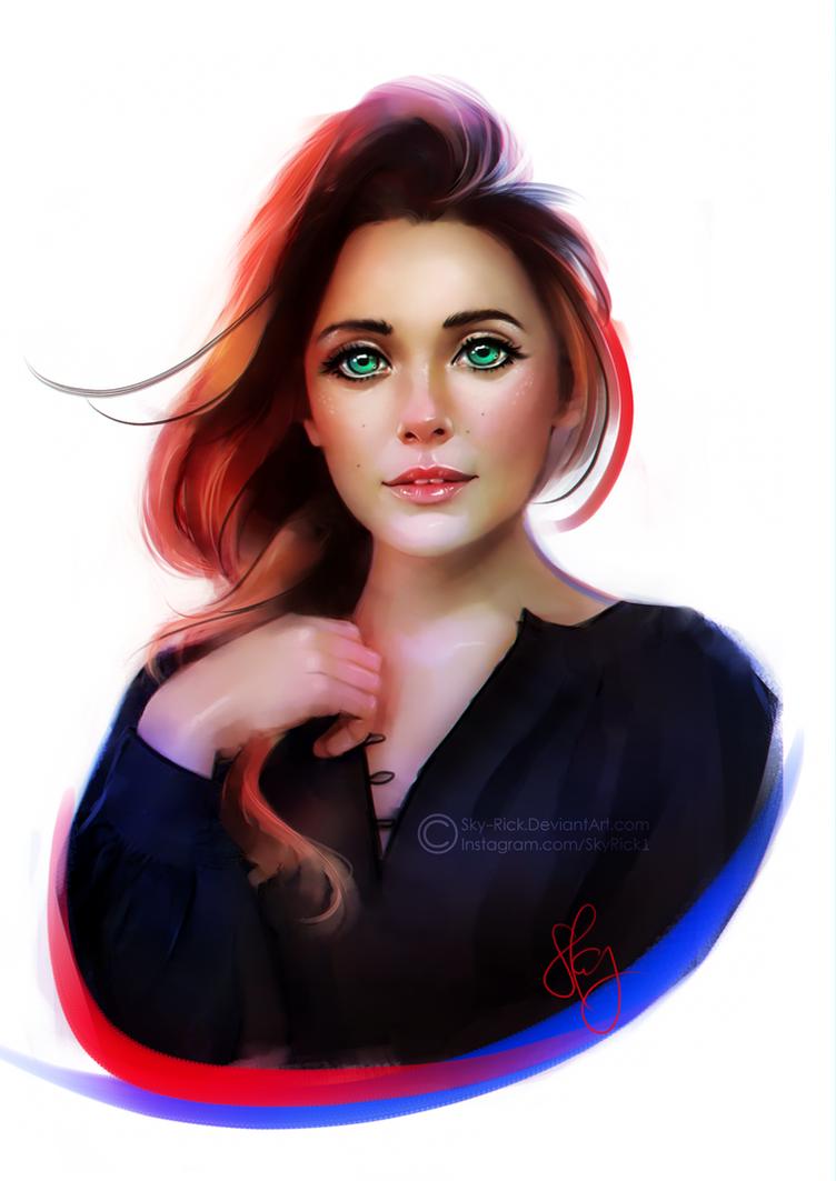Elizabeth Olsan stylized portrait by SkyRick1