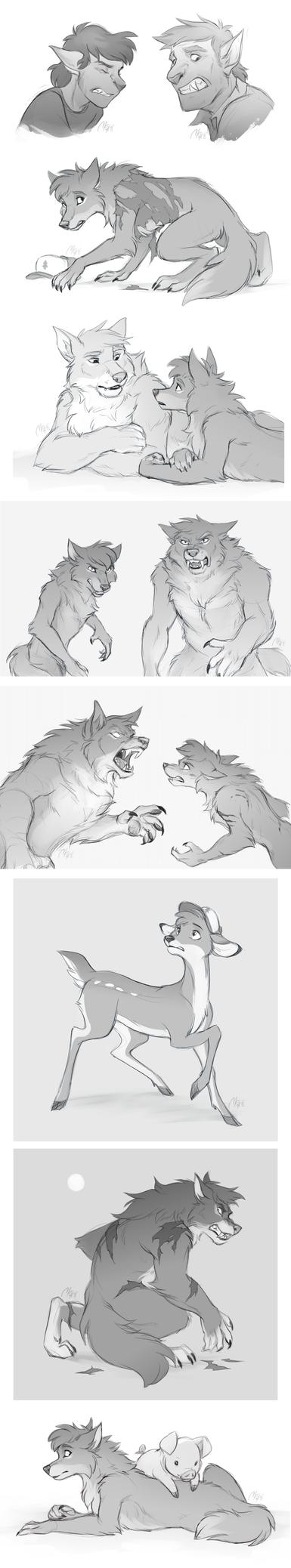 CM - Werewolf Falls sketches by Mistrel-Fox