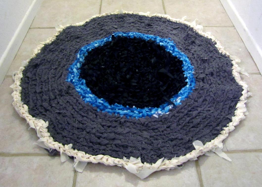 Blue-Grey Iris Crocheted Rag Rug by Dragonrose36