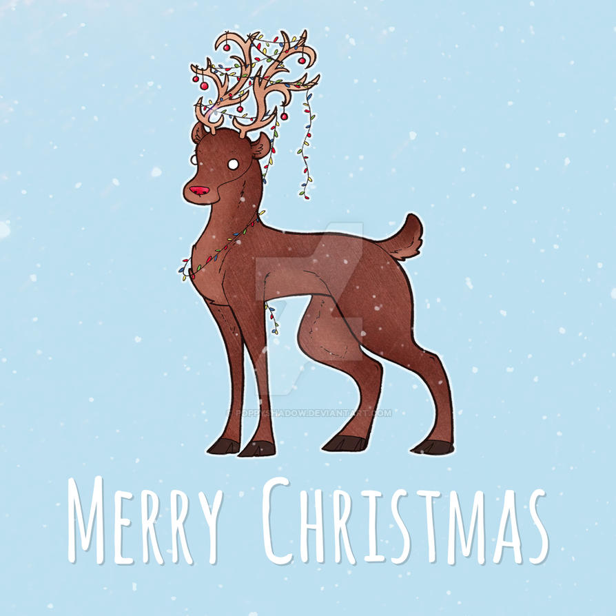 Christmas Card - Reindeer by Poppyshadow