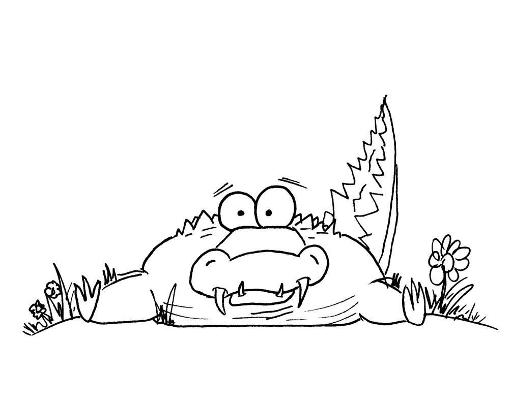 Cartoon Flower Line Drawing : Cartoon alligator in flowers by bnspencer on deviantart