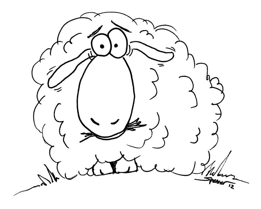 Line Drawing Sheep : Surprised sheep line art by bnspencer on deviantart