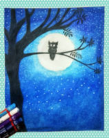 Oil Pastel- That Owl in the Starry Night by Stevenstone7
