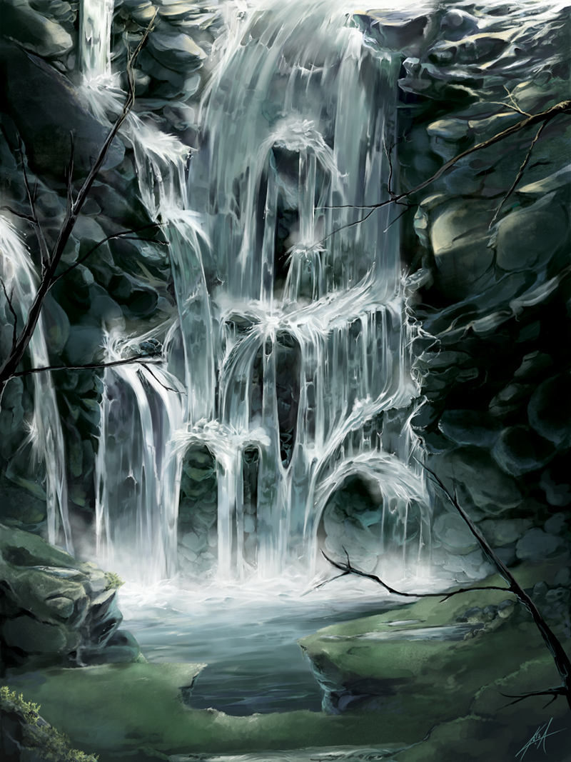 Cascading Waters by KalaSketch on DeviantArt