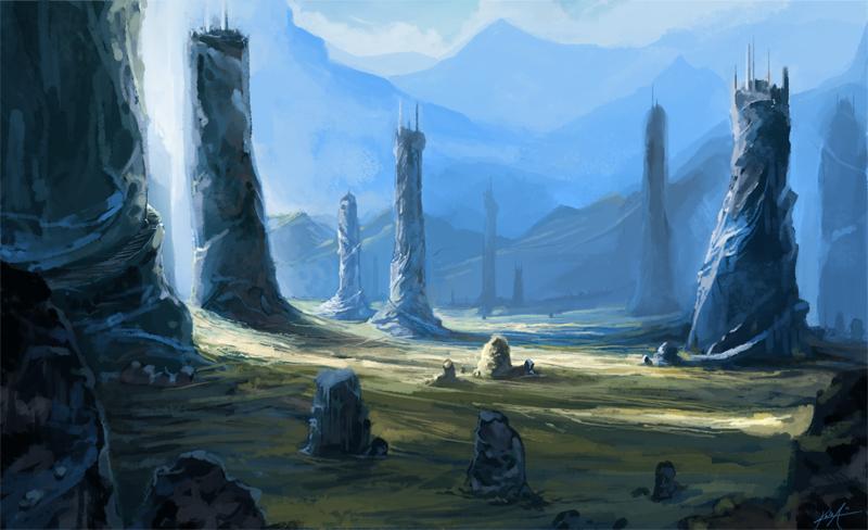 Mountain Pillars by KalaSketch
