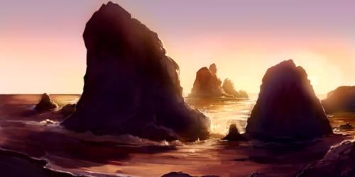 Ocean Rocks by KalaSketch
