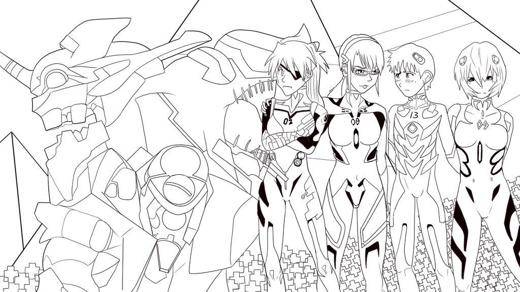 Evangelion 3.33 Line Art by JHTriune