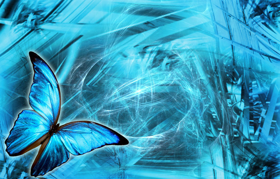 butterfly blue abstract wallpaper - photo #8