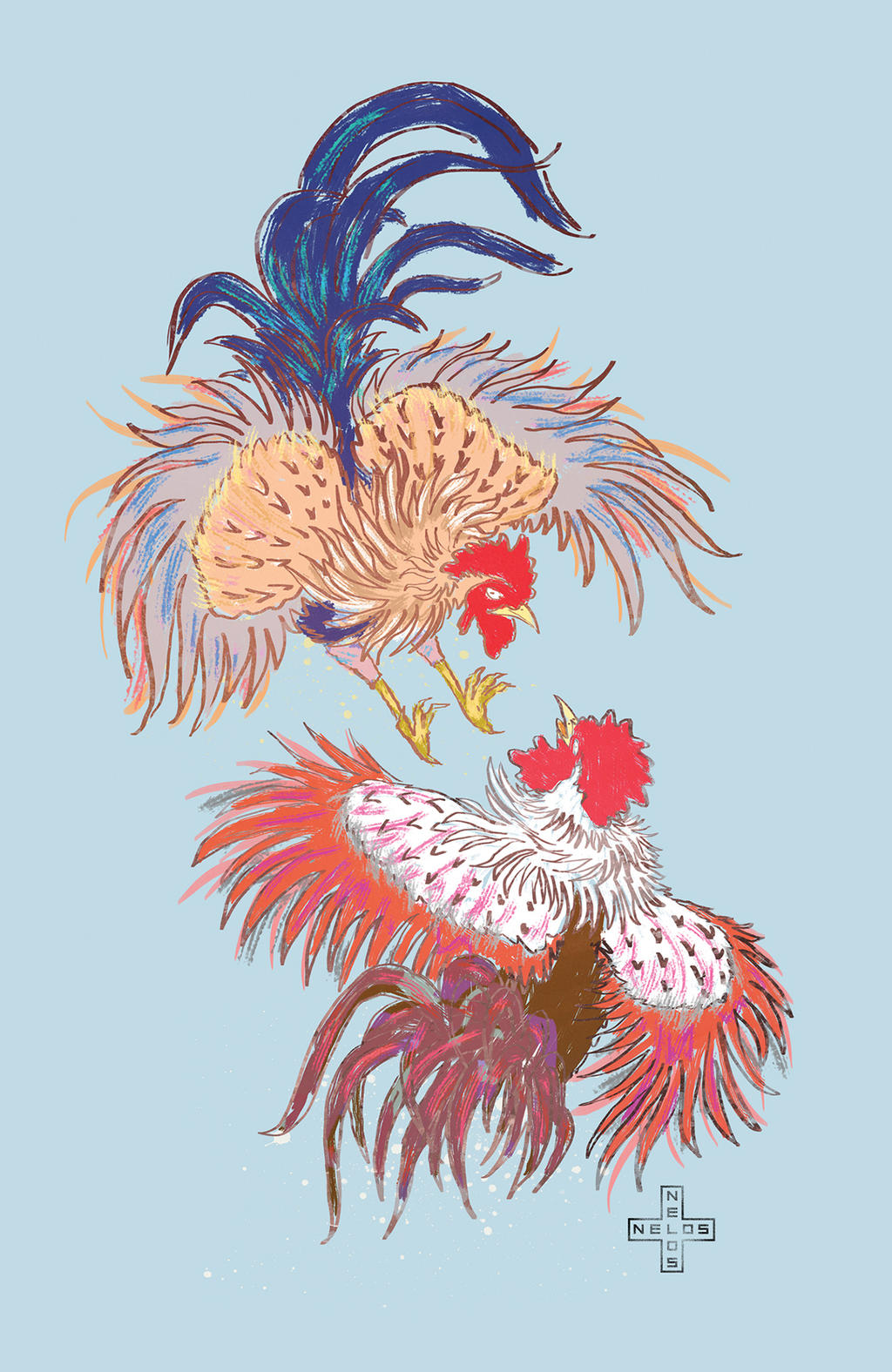 Fighting Roosters by nelos on DeviantArt