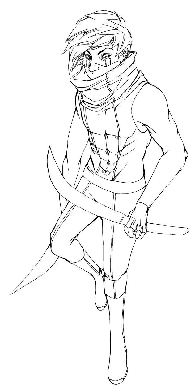 Line Art Ninja : Ninja lineart by feels with fingers on deviantart