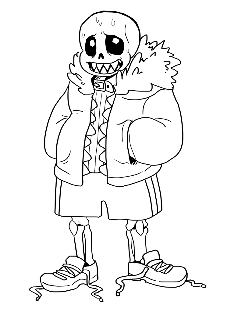 Underfell sans lineart by itachei on deviantart for Sans coloring page