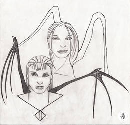 Succubus And Angel by Moonknight