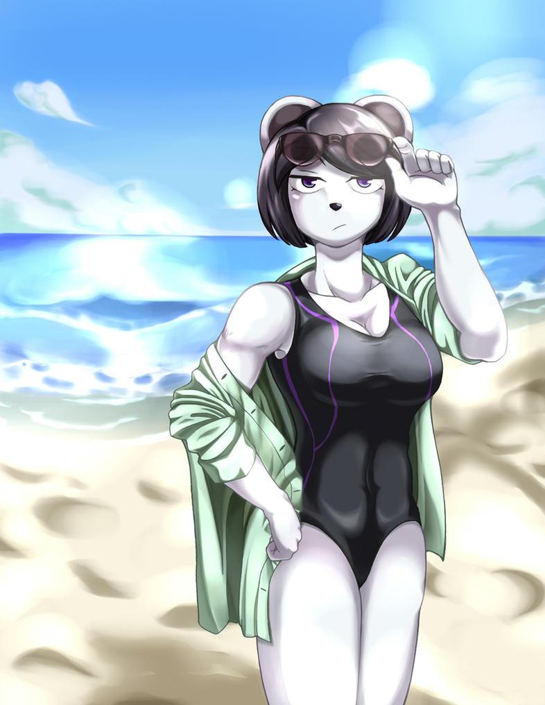 Swimsuit panda lady by MofuZelen