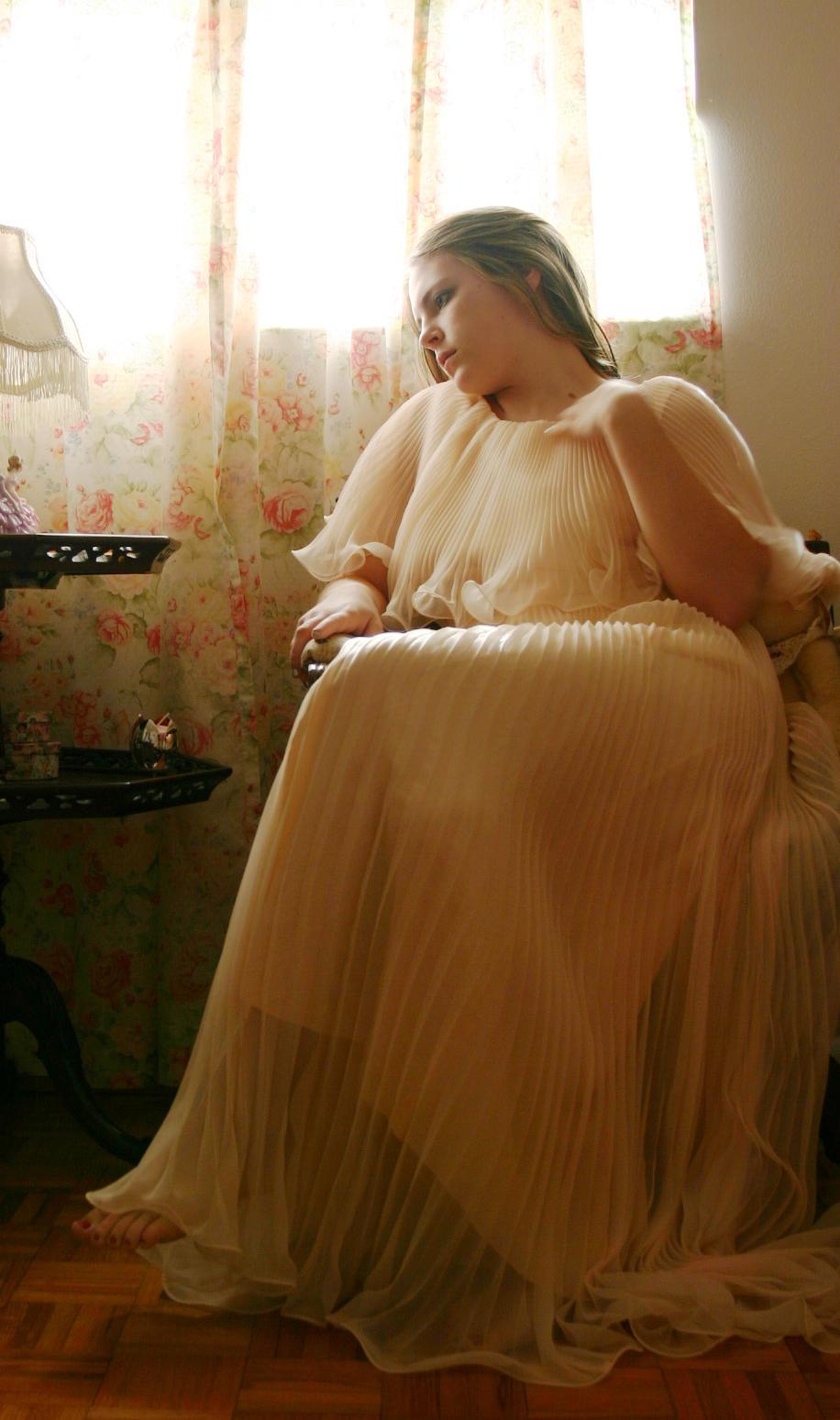 Peach Dress: Thinking by Della-Stock