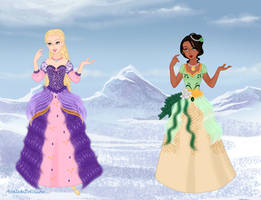 Disney princess-Rapunzel and Tiana by Blue-marin