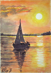 Masuria 17 - sunset with sailboat by czarownicazbagien