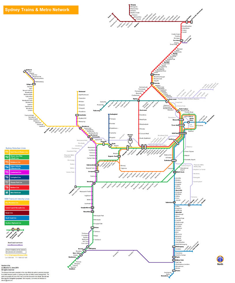 Sydney Trains and Metro Map (Intercity Version) by DracoCharizard87 ...
