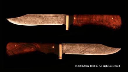 Meteorite Damascus Bowie Knife by JesseBerlin