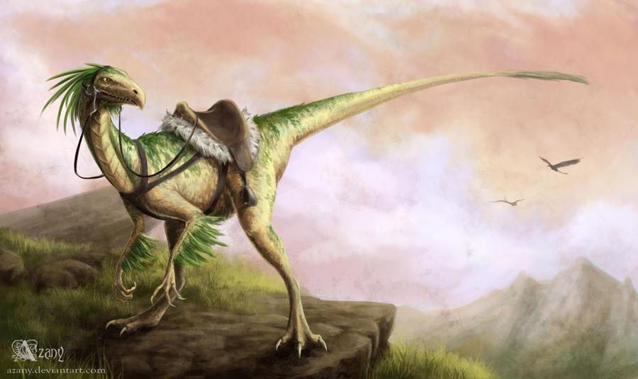 Riding Raptor By Azany On DeviantArt