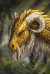 Old golden dragon by Azany