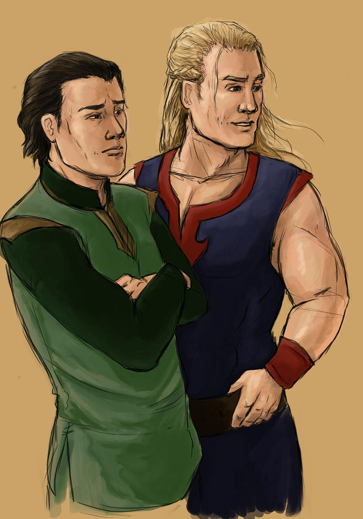 Young Thor and Loki by the-infamous-padfoot