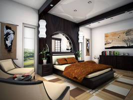 Zen Bedroom Concept _view 01 by arkiden124