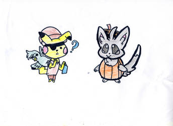Pikachu and Minccino (Inktober Charity Collab)
