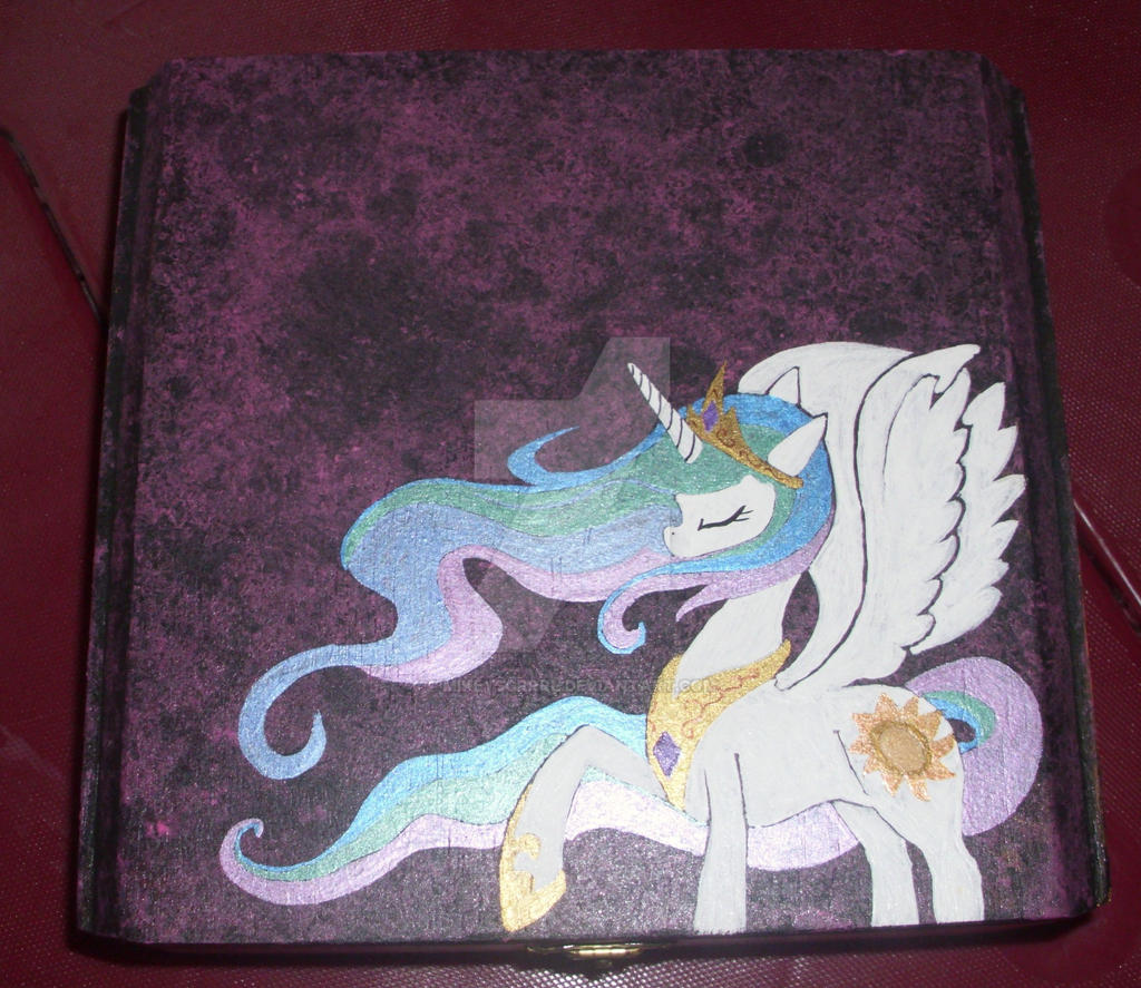 OOAK HandpaintedPrincess Celestia Jewelry Box by MikeysGrrrl