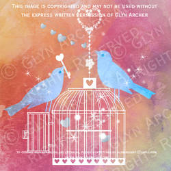 birds and birdcage WATERMARKED by GlynJA