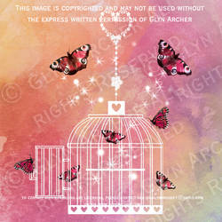 birdcage and butterflies WATERMARKED by GlynJA