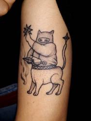 Cat Ninja Centaur Tattoo by Ghostexorcist