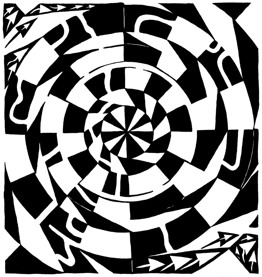 Spinning Tunnel Maze by ink-blot-mazes