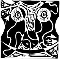 Bull Charging Rorschach by ink-blot-mazes