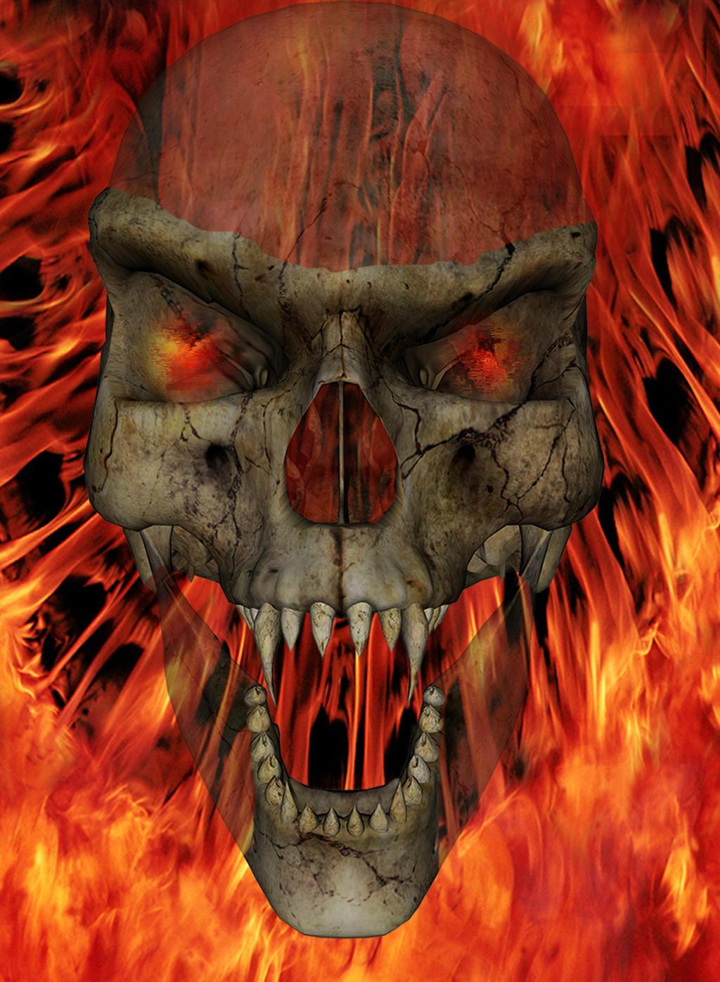 Flaming Skull by dmccoy1693