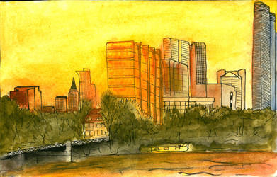 Sunset, River and Skyscrapers