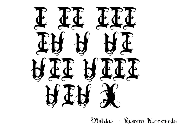 Diablo Roman Numerals By Weegraphicsman