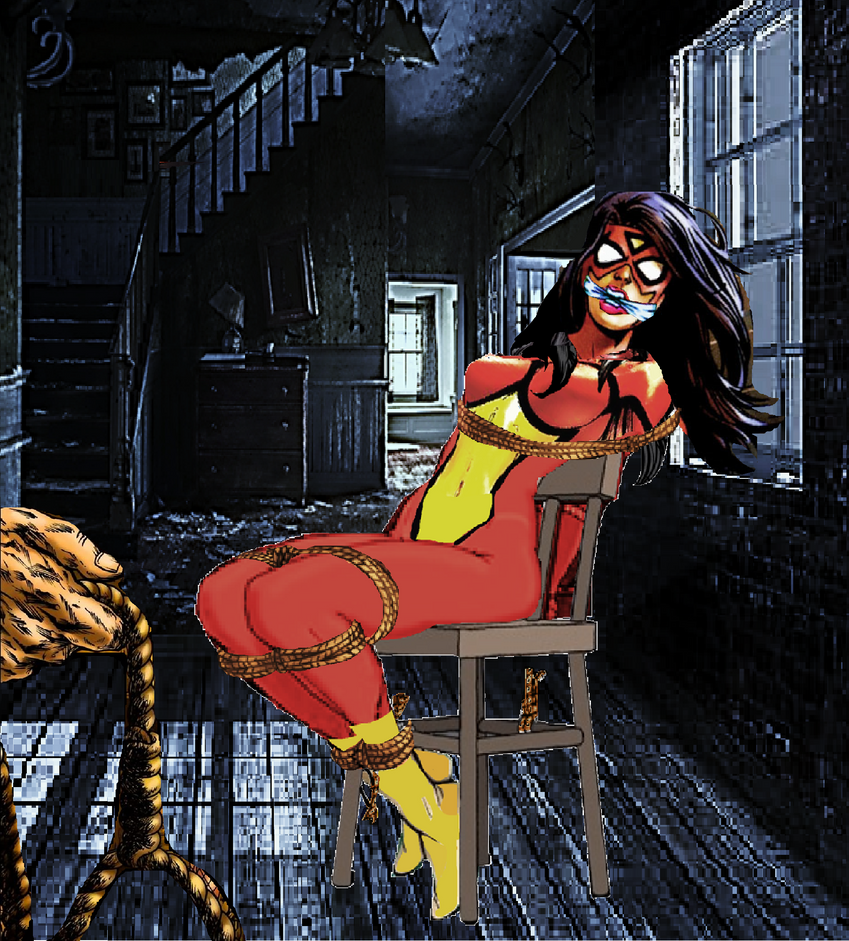 Spider Woman is helpless! by Damselfiend