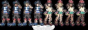 (POKEMON SUN/MOON) heros sprites by Nephae