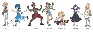 (POKEMON SUN/MOON) trial captains by Nephae