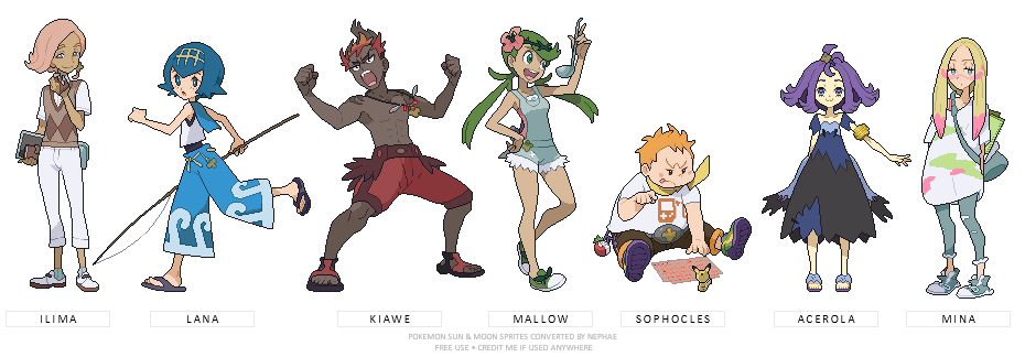 pokemon sun moon trial captains by nephae on deviantart