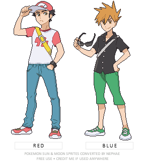 (POKEMON SUN/MOON) rivals Red and Blue by Nephae