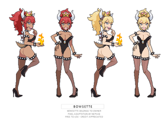 Bowsette pixel sprites by Nephae