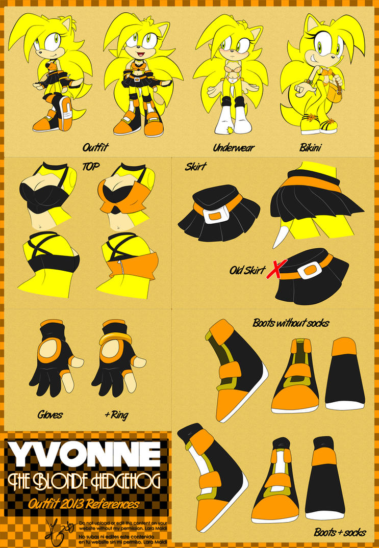 Yvonne the hedgehog Outfit Ref 2013 by YvoLara