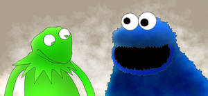Kermit and Cookie Monster by kilroyart