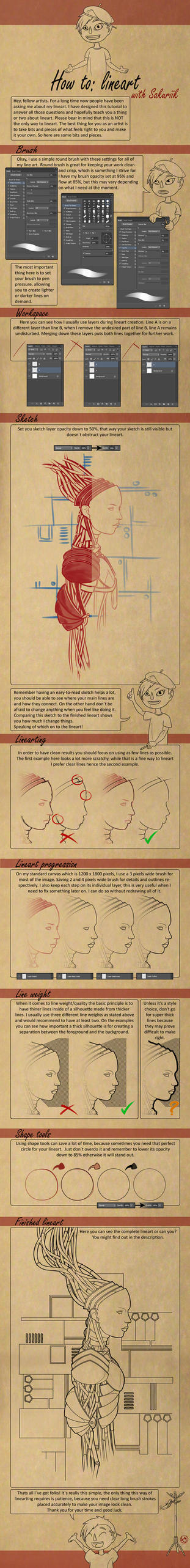 Lineart Tutorial by Sakuriik