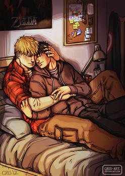 Cuddling somewhere