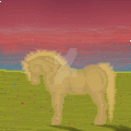 Landscape Red With Horse by tinmoonlittle