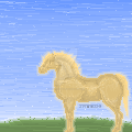 Palamino Harse With Landscape by tinmoonlittle