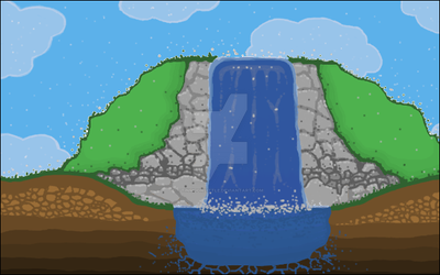Waterfall With Borded Extra Thin by tinmoonlittle